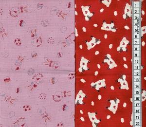 カット済 カットクロス ウサギ くすみ ピンク ヒツジ ハート レッド 2枚セット サイズ約 50cm×50cm 2-8