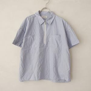 ■ビームスボーイ BEAMS BOY *コットンストライプジップシャツ*ワイド幅広ブラウス半袖ショートスリーブ綿0421【01C12】