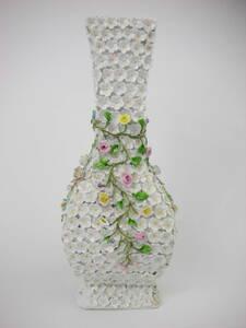 アンティーク19世紀ドイツ花弁尽くし花飾り付き花瓶