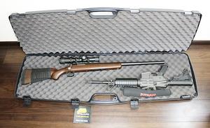 米国製☆ダブル・スコープドライフルケース (ハード) スコープ付2丁収納可 散弾銃ショットガンライフルに 狩猟 射撃 クレー サバゲーに