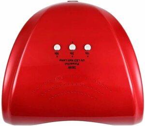 ★1円★訳あり 36W LED&UVネイルライト CCFL不使用 自動センサー ジェルネイル レジン レッド