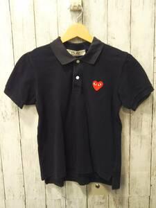 PLAY COMME des GARCONS プレイ コムデギャルソン AZ-T005 半袖ポロシャツ MADE IN JAPAN 赤ハート レディース ネイビー 紺