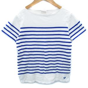 オーチバル ORCIVAL オーシバル Tシャツ カットソー 半袖 ラウンドネック 透け感 刺繍 ボーダー柄 14A 白 青 ホワイト ブルー レディース
