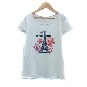 クミキョク 組曲 KUMIKYOKU Tシャツ カットソー 半袖 ラウンドネック イラスト 2 マルチカラー オフホワイト /YS38 レディース