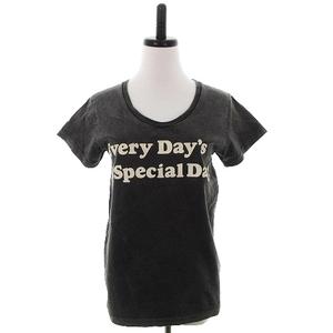 ジャーナルスタンダード HAND PRINTING Tシャツ カットソー 半袖 クルーネック コットン プリント M グレー トップス レディース