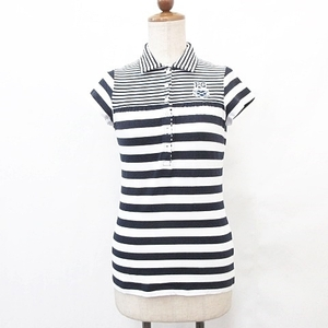 パーリーゲイツ PEARLY GATES ポロシャツ ゴルフウェア シャツカラー 半袖 ロゴ ワッペン ストレッチ ボーダー 紺 白 ネイビー ホワイト 0