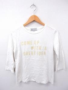 ビーミングバイビームス B:MING LIFE STORE by BEAMS Tシャツ カットソー プリント 丸首 七分袖 コットン 綿 ONE ホワイト 白 /FT19
