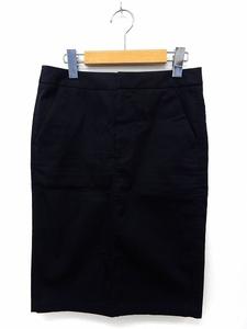フレームワーク Framework スカート 膝丈 タイト バックスリット ジップフライ ポケット 36 紺 ネイビー /ST47 レディース