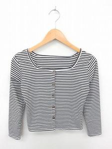 SPRAY PREMIUM カットソー Tシャツ ボーダー 飾りボタン 綿 コットン 長袖 白 黒 ホワイト ブラック /TT6
