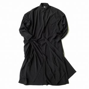 美品 19aw ビーヨウジヤマモト B YOHJI YAMAMOTO ダブル レイヤードオープン ロング シャツ ワンピース ブラウス コート メンズ レディース