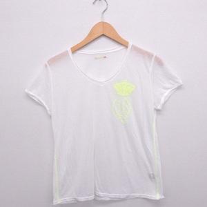 キュー Q Tシャツ カットソー 刺繍ロゴ Vネック 半袖 2 ホワイト 白 /FT38 レディース