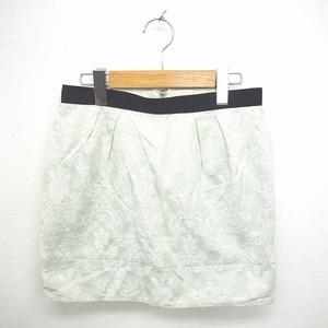 ジルスチュアート JILL STUART スカート タイト ミニ 刺繍 総柄 バックジップ S 薄緑 白 グリーン ホワイト /TT8
