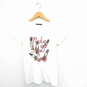イング INGNI Tシャツ カットソー 文字刺繍 リップ イラスト Vネック 半袖 M ホワイト レッド 白 赤 /MT41 レディース