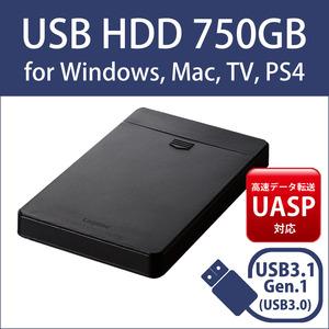 USBハードディスク 750GB 2.5インチポータブル USB3.1 使用1814時間 送料無料