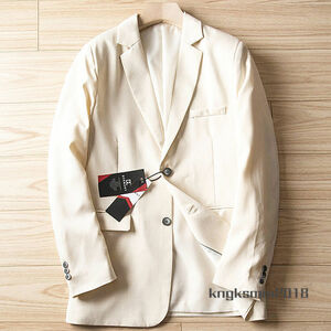 P552/56A(3XL程度)新品■綿麻混 テーラードジャケット 通気性 軽薄 春夏 紳士メンズ カジュアル ビジネス ブレザー/ ベージュ