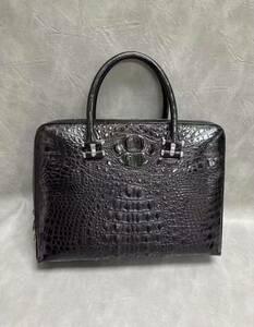 上質 クロコダイル レザー ワニ革 多機能 A4書類対応 ビジネス 鞄 ブリーフケース 出張用 通勤 メンズ ハンドバッグ 黒