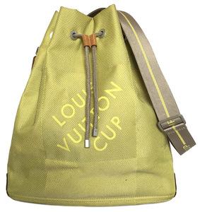 ルイヴィトン ダミエジェアン ルイヴィトンカップ 巾着 ショルダーバッグ M80635 ボランティア LV イエロー ライムグリーン系 キャンバス