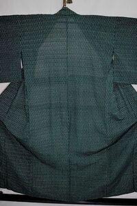 夏着物 子供女の子 化繊 小紋 単衣 バチ衿 青緑 幾何学文 身丈136cm 中古美品 kizg124★喜香★