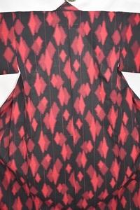ウール 子供着物女の子 小紋 赤・黒 単衣 バチ衿 身丈142.5cm 中古美品 kizg111★喜香★