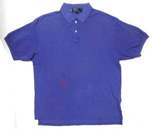 ●Polo by Ralph Lauren USA ポロ ラルフローレン/ワンポイントロゴ刺繍・半袖ポロシャツ・ブルー・L/USED