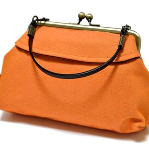新品 がま口 ミニトート ポーチ バッグインバッグ 小物入れ かわいい 未使用 日本製 和雑貨 オレンジ 橙