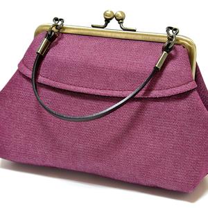 新品 がま口 ミニトート ポーチ バッグインバッグ 小物入れ かわいい 未使用 日本製 和雑貨 紫 パープル