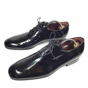 未使用品【ルイヴィトン】本物 LOUIS VUITTON 靴 25.5cm 黒 ホールカット ビジネスシューズ 内羽根式 エナメルレザー メンズ 伊製 6 1/2