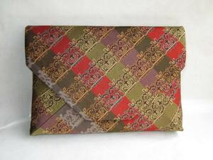 【風流庵】 『龍村美術織物』 正絹 数寄屋袋 ★ 経錦 『獅噛文長斑錦』 紙箱