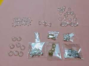 ハンドメイドに ガラスドーム リボン型 星型 ハート型 ピアスキャッチ金属 ガラスドーム蓋 アクセサリーパーツ まとめ売り 手芸用品