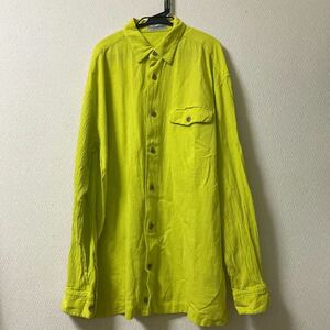 96年 issey miyake men 楊柳プリーツシャツ シャツビンテージ コットンシャツ 胸ポケ イエロー 黄色 Mサイズ オムプリッセ 長袖シャツ