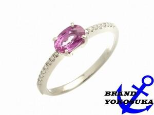 827 Pt900 D0.10ct S1.14ct オーバルカット リング プラチナ ダイヤ ピンクサファイア 指輪 16号 9月 誕生石 レディース 女性 送料無料