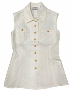 クリーニング済 ヴィンテージ CHANEL BOUTIQUE シャネル ノースリーブシャツ ベスト チェーンココマークボタン 白×ゴールド