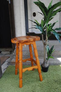 e581 * counter chair / wooden / high type / wood grain / stool / small of the back ./ keep hand attaching / stand for flower vase as ./ Brown