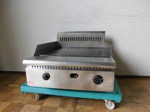 中古厨房 業務用 卓上 グリドル 鉄板焼き台 都市ガス 鉄板厚み15mm 焼きそば お好み焼き 屋台 祭り W600×D800×H300(BG495)mm