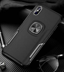 iPhone 7Plus iPhone 8Plus ケース 黒色 リング付きケース 薄型 軽量 大人気 送料無料 匿名配送 未使用