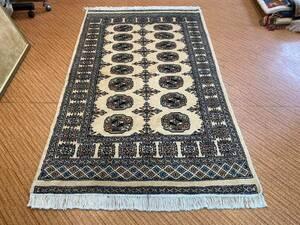 新しい パキスタン手織りカーペット 手織り絨毯 アクセントラグ Size:153 x 93cm STN:201