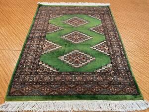 新しい パキスタン手織りカーペットウールとシルクミックス アクセントラグ 玄関マット 手織り絨毯 Size:116 x 82cm STN:359