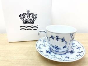 □ROYAL COPENHAGEN ロイヤルコペンハーゲン ブルーフルーテッド プレイン コーヒーカップ&ソーサー 160cc 未使用品 1 管理2103 店内