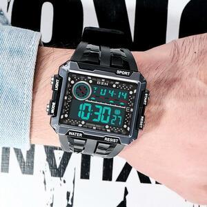 ■★メンズ腕時計 多機能スポーツ腕時計 スクエアバックライト デジタル腕時計 088