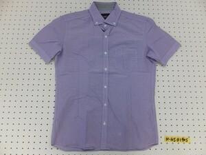 〈送料280円〉NICOLE selection ニコル メンズ ギンガムチェック ボタンダウン 半袖シャツ 46 紫白