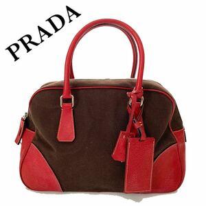 【送料無料】PRADA プラダ キャンバス レザー ハンドバッグ トートバッグ ブラウン 赤 カバン レッド 茶系 プレート ロゴ