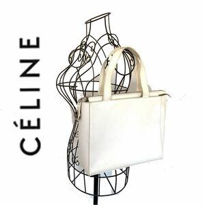 【送料無料】celine セリーヌ サークルロゴ トートバッグ 本革 レザー ホワイト 白 リング カバン ハンドバッグ レディース