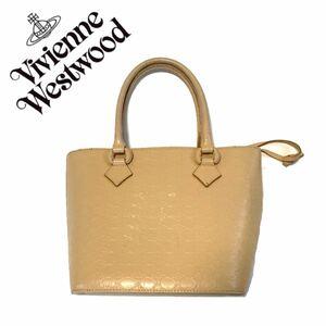 【送料無料】Vivienne Westwood ヴィヴィアンウエストウッド ハンドバッグ 巾着 クリーム 白 レディース オーブ 型押し