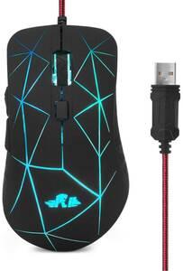 マウス 有線USB 7色RGBバックライト マウス 6ボタン4調節DPIレベル、光学式マウス、左右対称型 LEDマウス、パソコンマウス