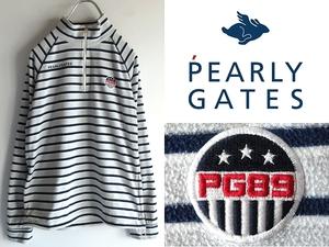 PEARLY GATES パーリーゲイツ PG89 ロゴ刺繍/ワッペン付 ボーダー ハーフジップ プルオーバーフリース 1 ネイビー グレー 軽量 ゴルフ