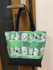 ムーミン 森の散歩道 グリーン 緑 ミニトートバッグ ハンドメイド