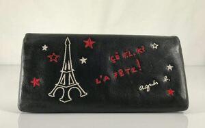 美品 agnes b VOYAGE アニエス・ベー 可愛い 2つ折り小銭入れ付き ブラック&レレッド 本革レザー 星形プル付き 軽量 長財布 です。