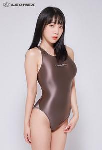 ☆送料込み☆JG-A Lサイズ ブラウン LEOHEX 超光沢 超つるつる コスプレ ハイレグ レオタード 競泳水着 スクール水着 レースクイーン