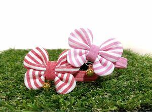 猫首輪 可愛いしましま蝶々リボン 選べる2色 レッド/ピンク ハンドメイド