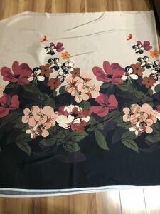 生地 ハギレ はぎれ 大柄 花柄 サテン プリント 2柄 1.4m パネル柄 総柄 スカーフ柄